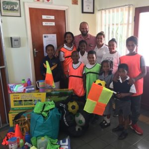 A donation of all the soccer gear that got used on our Always shoot with Caviar to Kleinberg Primary School